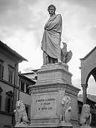Famous statue of Dante Alighieri located in Piazza Santa Croce next to the Basilica, Florence