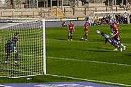 Bristol Rovers Brandan Halan almost heads in a goal  prepares to take a free kick during the EFL Sky Bet League 1 match between Bristol Rovers and Ipswich Town at the Memorial Stadium, Bristol, England on 19 September 2020.