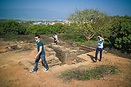 Tourists walk around the trenches tunnels and bunkers of Hill A1 'Eliane 2' in Dien Bien Phu, Muong Thanh Valley, Dien Bien Province, Vietnam, Southeast Asia