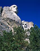 View of George Washington and Abraham Lincoln, Mount Rushmore National Memorial, South Dakota.