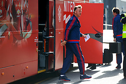 © Licensed to London News Pictures. 20/05/2016. London, UK. Manager LOUIS VAN GAAL and Manchester United players arrive at their hotel in Wembley, London on Friday, 20 May 2016, ahead of the FA Cup final against Crystal Palace in Wembley Stadium. Photo credit: Tolga Akmen/LNP