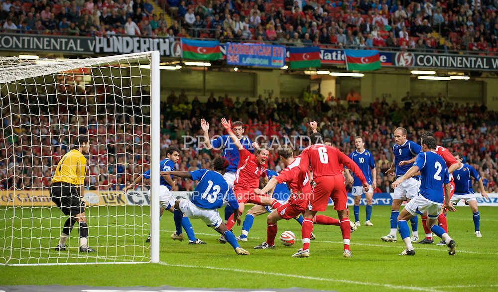 CARDIFF, WALES - Friday, September 5, 2008: Wales' Sam Vokes scores a late winning goal against Azerbaijan during the opening 2010 FIFA World Cup South Africa Qualifying Group 4 match at the Millennium Stadium. (Photo by David Rawcliffe/Propaganda)