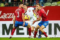November 15, 2018 - Gdansk, Poland - Robert Lewandowski of Poland vies Ondrej Celustka of Czech Republic during International Friendly match between Poland and Czech Republic on November 15, 2018 in Gdansk, Poland. (Credit Image: © Foto Olimpik/NurPhoto via ZUMA Press)