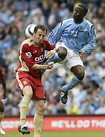 Photo: Aidan Ellis.<br /> Manchester City v Portsmouth. The Barclays Premiership.<br /> 27/08/2005.<br /> Manchester's Andrew Cole and Pompy's Andy O'Brien