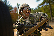 U.S. Army Private  Demetius Ridley prepares to attack the dummy on the bayonet assault course at Fort Jackson, S.C., on October 23, 2008.