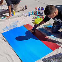 Duane Koyawena conducts a sign making workshop during the Change Labs conference at Navajo Technical University in Crownpoint Friday.