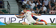 Twickenham, England. England's, Jonny MAY,  defending, as he and Brice DULIN,  reach out for the loose ball, during the  QBE International. England vs France [World cup warm up match]  Saturday.  15.08.2015,  [Mandatory Credit. Peter SPURRIER/Intersport Images].