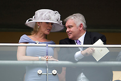 © London News Pictures. 18/06/2013. Ascot, UK.  Eamonn Holmes and his wife Ruth Langsford attending day one of Royal Ascot at Ascot racecourse in Berkshire, on June 18, 2013.  The 5 day showcase event,  which is one of the highlights of the racing calendar, has been held at the famous Berkshire course since 1711 and tradition is a hallmark of the meeting. Top hats and tails remain compulsory in parts of the course. Photo credit should read: Ben Cawthra/LNP