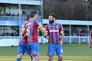 Crystal Palace Scott Dann puts Palace 2-0 up and celebrates during the The FA Cup Third Round match between Dover Athletic and Crystal Palace at Crabble Athletic Ground, Dover, United Kingdom on 4 January 2015. Photo by Phil Duncan.