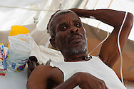 Jean Dije, 50 years old, recoverring from cholera in a cholera  treatment center in the Tabarre section of Port-au-Prince run by Doctors with out Boarders (MSF) .