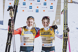 28.02.2021, Oberstdorf, GER, FIS Weltmeisterschaften Ski Nordisch, Oberstdorf 2021, Herren, Langlauf, Teamsprint, Freestyle, Siegerpräsentation, im Bild v.l.: Weltmeisterin und Goldmedaillengewinner Erik Valnes (NOR), Johannes Hoesflot Klaebo (NOR) // f.l.: World champion and gold medalist Erik Valnes of Norway Johannes Hoesflot Klaebo of Norway during the teampresentation for the men Cross Country team sprint freestyle competition of the FIS Nordic Ski World Championships 2021 in Oberstdorf, Germany on 2021/02/28. EXPA Pictures © 2021, PhotoCredit: EXPA/ Dominik Angerer