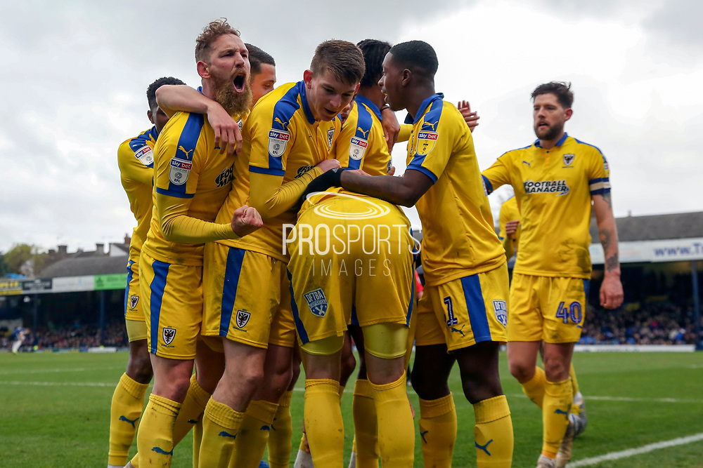 Celebrations after AFC Wimbledon striker Joe Pigott (39) scored during the EFL Sky Bet League 1 match between Southend United and AFC Wimbledon at Roots Hall, Southend, England on 16 March 2019.