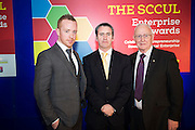 Michael Smith Ballybane Enterprise Centre Manager  with Damien English TD, Minister of State at the Department of Jobs, Enterprise & Innovation and John Lenihan at the annual SCCUL Enterprise Awards prize giving ceremony and business expo which was hosted by NUI Galway in the Bailey Allen Hall, NUIG. Photo:Andrew Downes