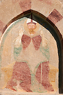 Fresco of San Vigilio on the church of San Vigilio in Pinzolo, Trentino, Italy .<br /> <br /> Visit our MEDIEVAL ART PHOTO COLLECTIONS for more   photos  to download or buy as prints https://funkystock.photoshelter.com/gallery-collection/Medieval-Middle-Ages-Art-Artefacts-Antiquities-Pictures-Images-of/C0000YpKXiAHnG2k<br /> If you prefer to buy from our ALAMY PHOTO LIBRARY  Collection visit : https://www.alamy.com/portfolio/paul-williams-funkystock/san-vigilio-pinzolo-dance-of-death.html