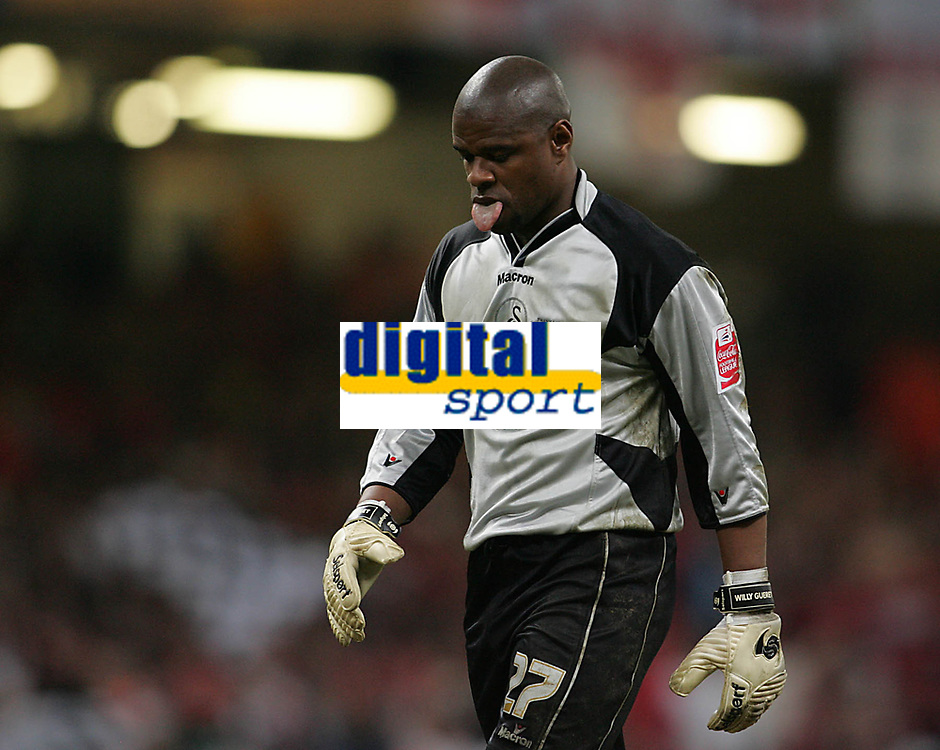 Photo: Lee Earle.<br /> Barnsley v Swansea City. Coca Cola League 1. Play off Final. 27/05/2006. Swansea keeper Willy Gueret looks relieved after their second goal was scored.