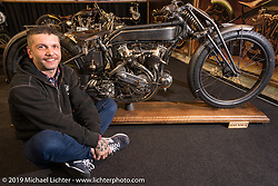 Samuele Reali of Abnormal Cycles with his latest custom, a very rare 1919 MAG, at Motor Bike Expo. Verona, Italy. Thursday January 18, 2018. Photography ©2018 Michael Lichter.