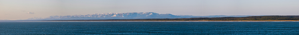 Russia, Sakhalin, Sea of Okhotsk. Sakhalin coastline. Panorama view.