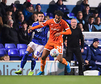 Blackpool's Joe Nuttall vies for possession with Ipswich Town's Anthony Georgiou<br /> <br /> Photographer Chris Vaughan/CameraSport<br /> <br /> The EFL Sky Bet League One - Ipswich Town v Blackpool - Saturday 23rd November 2019 - Portman Road - Ipswich<br /> <br /> World Copyright © 2019 CameraSport. All rights reserved. 43 Linden Ave. Countesthorpe. Leicester. England. LE8 5PG - Tel: +44 (0) 116 277 4147 - admin@camerasport.com - www.camerasport.com