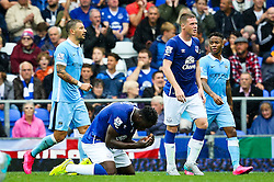 Everton's Romelu Lukaku reacts after missing his goal is disallowed - Mandatory byline: Matt McNulty/JMP - 07966386802 - 23/08/2015 - FOOTBALL - Goodison Park -Everton,England - Everton v Manchester City - Barclays Premier League