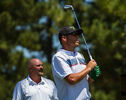 July 15, 2018 - Stateline, Nevada, U.S - Olympic Gold Medalist, BODE MILLER, watches his drive on the 17th hole during the 29th annual American Century Championship at the Edgewood Tahoe Golf Course, Stateline, Nevada, on Sunday, July 15, 2018. (Credit Image: © Tracy Barbutes via ZUMA Wire)