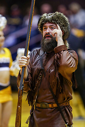 Mar 20, 2019; Morgantown, WV, USA; The West Virginia Mountaineers mascot leads a cheer during the second half against the Grand Canyon Antelopes at WVU Coliseum. Mandatory Credit: Ben Queen