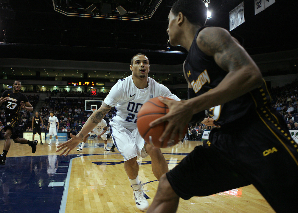 Jan 7, 2012; Norfolk, VA, USA; Old Dominion Monarchs guard Marquel De Lancey (22) guards Towson Tigers guard Kris Walden (3) on a in bounds pass at the Ted Constant Convocation Center. Mandatory Credit: Peter Casey-US PRESSWIRE