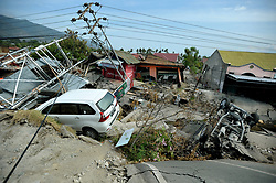 October 4, 2018 - Palu, Central Sulawesi, Indonesia - The impact experienced by an earthquake  at Balaroa village in Palu, Central Sulawesi, Indonesia, 04 October 2018. According to reports, at least 1,407 people have died after a series of powerful earthquakes hit Central Sulawesi on 28 September 2018, which triggered a tsunami. (Credit Image: © Dasril Roszandi/NurPhoto/ZUMA Press)