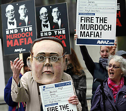 Anti Murdoch protesters outside the BSkyB Annual General Meeting in Westminster, Tuesday 29th November 2011 Photo by: Andre Camara / i-Images
