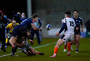 Sale Sharks full back Sam James feeds the ball back in-field during the European Champions Cup match Sale Sharks -V- Edinburgh Rugby at The AJ Bell Stadium, Greater Manchester,England United Kingdom, Saturday, December 19, 2020. (Steve Flynn/Image of Sport)