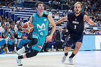 Movistar Estudiantes Dario Brizuela and Donar Groningen Aron Roye during Basketball Champions League match between Movistar Estudiantes and Donar Groningen at Wizink Center in Madrid, Spain October 02, 2017. (ALTERPHOTOS/Borja B.Hojas)