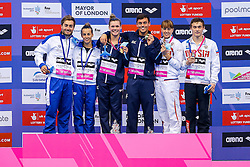 Grace Reid and Tom Daley of Great Britain celebrate on the podium after winning Gold in the Mixed 3m Synchronised Springboard - Mandatory byline: Rogan Thomson/JMP - 11/05/2016 - DIVING - London Aquatics Centre - Stratford, London, England - LEN European Aquatics Championships 2016 Day 3.