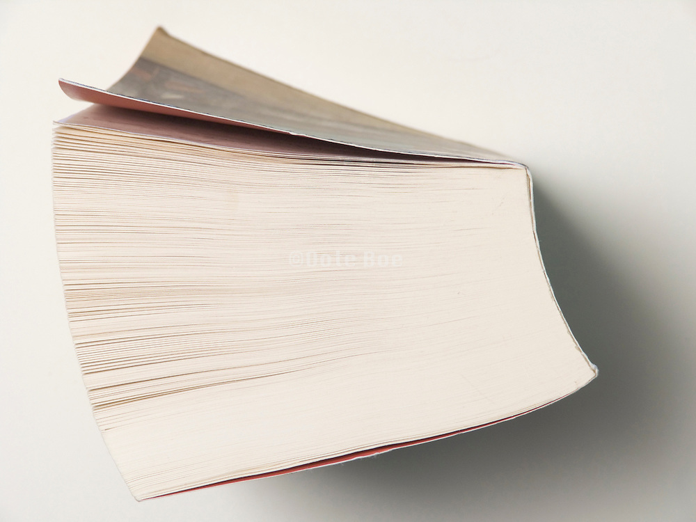 overhead view of a thick book