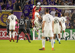 April 21, 2018 - Orlando, FL, U.S. - ORLANDO, FL - APRIL 21: Orlando City goalkeeper Joseph Bendik (1) makes a save during the MLS soccer match between the Orlando City FC and the San Jose Earthquakes at Orlando City SC on April 21, 2018 at Orlando City Stadium in Orlando, FL. (Photo by Andrew Bershaw/Icon Sportswire) (Credit Image: © Andrew Bershaw/Icon SMI via ZUMA Press)