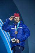 Bronze medalist Billy Morgan of Great Britain celebrates during the medal ceremony of the Snowboard Big Air on the 24th February 2018 at the Olympic Plaza, Pyeongchang-gun, South Korea