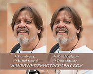 An example of photo retouching, wrinkle reduction, teeth whitening and blemish removal.