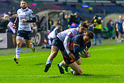 George Taylor (#12) of Edinburgh Rugby scores the opening try during the Guinness Pro 14 2019_20 match between Edinburgh Rugby and Cardiff Blues at BT Murrayfield Stadium, Edinburgh, Scotland on 28 February 2020.