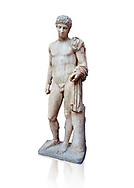 Roman marble statue of Hermes found at Aigion, Pelopenese. 27 BC - 14 AD. Athens Archaeological Museum Cat No 241. Against white, <br /> <br /> Hermes is depicted standing wearing a chalamys that is wound around his lest arm. In his right hand he holds a purse and in his left a 'caduceus'. Augustan Roman period .<br /> <br /> If you prefer to buy from our ALAMY STOCK LIBRARY page at https://www.alamy.com/portfolio/paul-williams-funkystock/greco-roman-sculptures.html . Type -    Athens    - into LOWER SEARCH WITHIN GALLERY box - Refine search by adding a subject, place, background colour, etc.<br /> <br /> Visit our ROMAN WORLD PHOTO COLLECTIONS for more photos to download or buy as wall art prints https://funkystock.photoshelter.com/gallery-collection/The-Romans-Art-Artefacts-Antiquities-Historic-Sites-Pictures-Images/C0000r2uLJJo9_s0