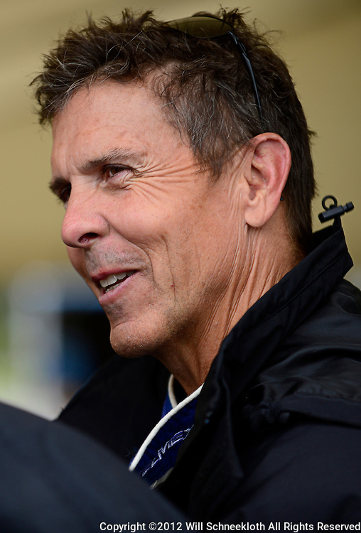Telmex Chip Ganassi Racing with Felix Sabates driver Scott Pruett of the United States in the teams garage area before the Rolex Grand-Am Sports Car Series Championship weekend race at Lime Rock Park in Lakeville, Conn.