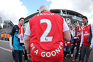 """an Arsenal fan wearing """"Proud 2 be a gooner"""" shirt outside the Emirates Stadium before k/o. Barclays Premier league match, Arsenal v Crystal Palace at the Emirates Stadium in London on Sunday 17th April 2016.<br /> pic by John Patrick Fletcher, Andrew Orchard sports photography."""