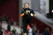 Goalkeeper Jack Butland of Stoke City during pre match warm up. Barclays Premier league match, West Ham Utd v Stoke city at the Boleyn Ground, Upton Park  in London on Saturday 12th December 2015.<br /> pic by John Patrick Fletcher, Andrew Orchard sports photography.