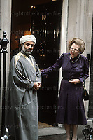 Margaret Thatcher with The Sultan of Oman on the steps of no.10 Downing Street during his official visit to London in 1982.