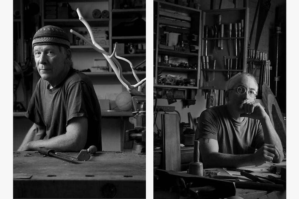 Custom Furniture Makers in their workshops.  Jon Brooks, New Boston NH (left), John Cameron, Gloucester, MA  (right)