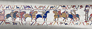 Bayeux Tapestry scene 13 :  Guy de Ponthieu, left,  hands Harold over to William the Conqueror, right. .<br /> <br /> If you prefer you can also buy from our ALAMY PHOTO LIBRARY  Collection visit : https://www.alamy.com/portfolio/paul-williams-funkystock/bayeux-tapestry-medieval-art.html  if you know the scene number you want enter BXY followed bt the scene no into the SEARCH WITHIN GALLERY box  i.e BYX 22 for scene 22)<br /> <br />  Visit our MEDIEVAL ART PHOTO COLLECTIONS for more   photos  to download or buy as prints https://funkystock.photoshelter.com/gallery-collection/Medieval-Middle-Ages-Art-Artefacts-Antiquities-Pictures-Images-of/C0000YpKXiAHnG2k