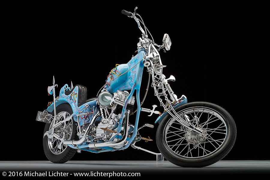 """""""Odin's Axle"""", built from a 1962 panhead by Ron Finch of Finch's Custom Cycles in Pontiac, MI. Photographed by Michael Lichter during the Easyriders Bike Show in Columbus, OH on February 20, 2016. ©2016 Michael Lichter."""