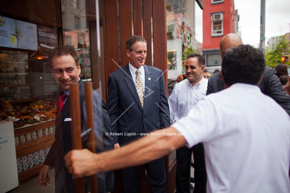 Lieutenant Governor Robert Duffy attends ribbon cutting ceremony at Chobani Yogurt Bar in SoHo, New York.  .. Photo by Robert Caplin