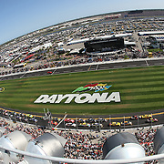 An aerial view from the tower of the start of the Daytona 500 Sprint Cup race at Daytona International Speedway on February 20, 2011 in Daytona Beach, Florida. (AP Photo/Alex Menendez)