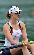 Bled, SLOVENIA. GBR W2-. Stroke Alison KNOWLES.  1st FISA World Cup, on Lake Bled. Friday  28/05/2010  [Mandatory Credit Peter Spurrier/ Intersport Images]