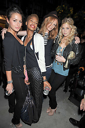 Left to right, SASKIA BOXFORD, TOLULA ADEYMI, OLIVIA INGE and MARISSA MONTGOMERY at a party to launch the new Belvedere Black Raspberry Maceration held at the Belvedere Black Raspberry Pop-up Store, 100 Mount Street, London W1 on 6th May 2009.