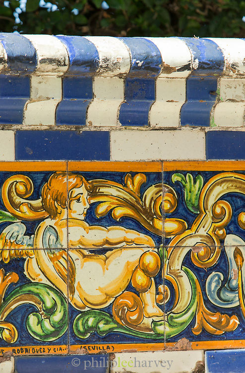 Close-up of painting on tiles depicting cupid, Cadiz, Andalusia, Spain