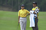 2001 Weetabix Women's British Open, Sunningdale Golf Course, Berks, Great Britain<br />  <br /> [Mandatory Credit Peter Spurrier/Intersport Images]<br /> <br /> Friday 3rd August 2001<br /> Weetabix Women's British Open<br /> <br /> Japan's, Kasumi Fujii, chat's with her caddy at the 11th green.